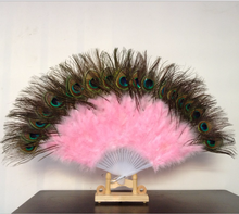 11 Colors Folk Dance Stage Performance Prop High Quality Exquisite Peacock Tail Feathers Fan Beautiful Feather Folding Hand