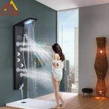 Quyanre 블랙 수력 디지털 디스플레이 샤워 패널 열 LED 빗물 폭포 샤워 2 웨이 스파 제트 욕조 샤워 믹서