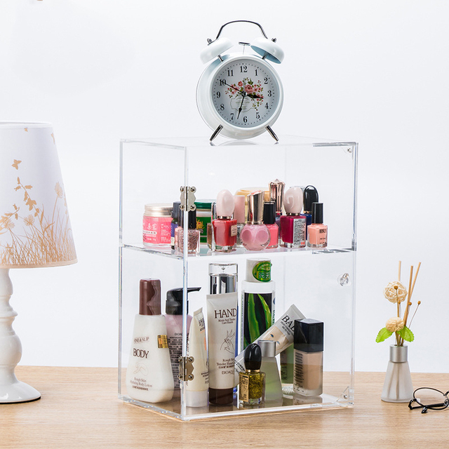 Large Makeup Storage Box Acrylic Cosmetic Organizer Case With Door  Dust Proof Toys Organizer Clear