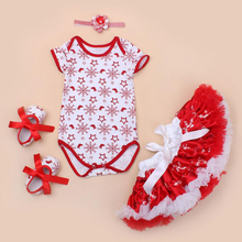 4PCs per Set Baby Girls Christmas Romper Snow Flake Petti Tutu Skirt Flower Headband Shoes for 0-24months