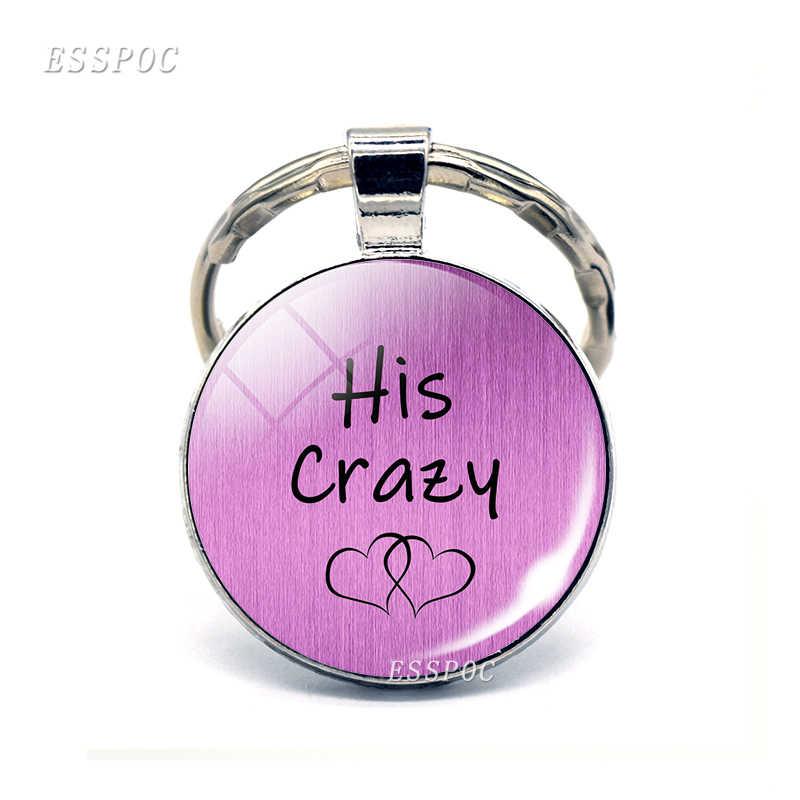 LLavero de moda para parejas con letras de amor divertidas de cristal domo de Metal llavero de regalo para amantes parejas