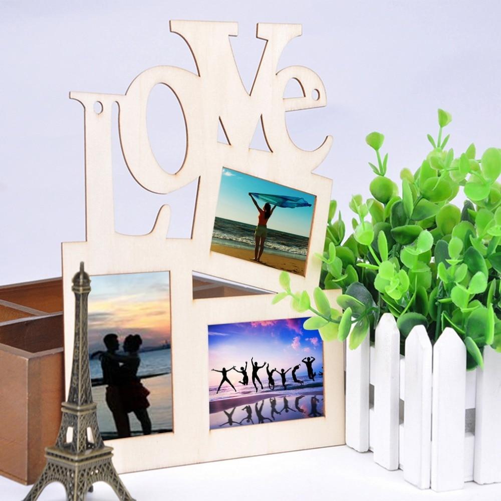 ヾ(^▽^)ノ3 cajas Hollow amor madera Marcos arte moderno Wall po ...