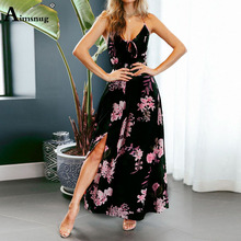 New Black Plunging Neck Crisscross Back Cami Dress Maxi Flower Print Sexy Night Out Dress Autumn Modern Lady Women Party Dresses цены