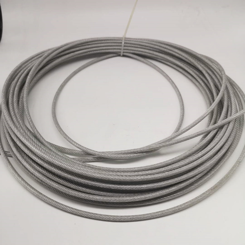 (PVC)4mm,10M, 7X7 304 Stainless Steel Wire Rope With PVC Coating Softer Fishing Coated Cable Clothesline Traction Rope