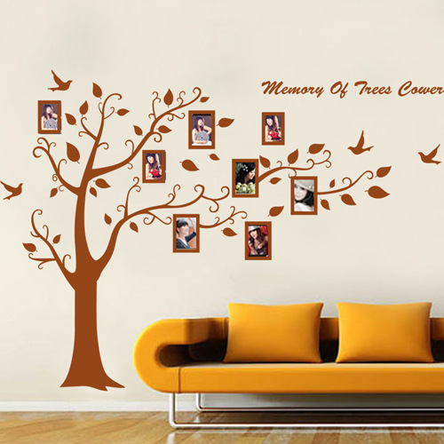 Large Size Family Tree Photo Frames on the Tree Branches and Soaring Birds Brown Decorative Wall Stickers Arttive Wall Stickers