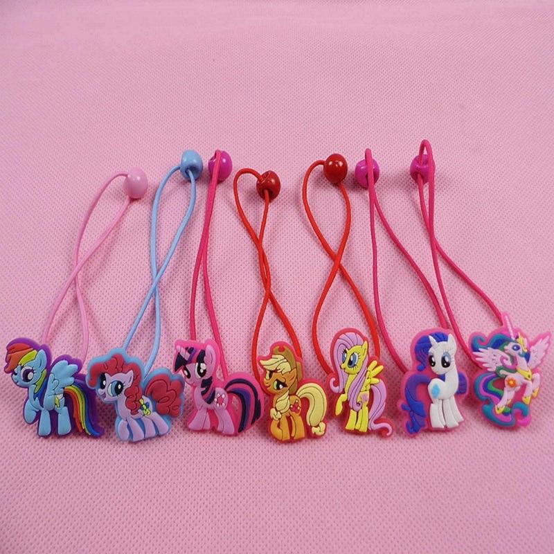 Moda bebê crianças bonito my little pony desenhos animados corda de cabelo – cor 2 pçs/lote meninas grampos