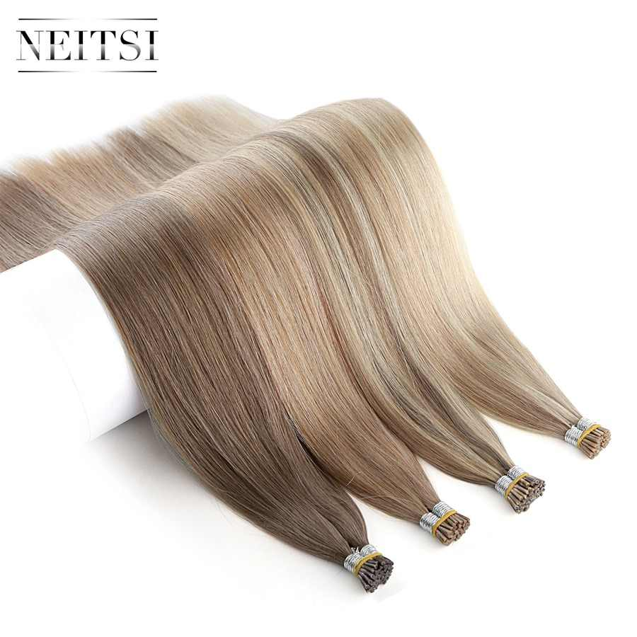 "Neitsi Double Drawn Remy I Tip Human Pre Bonded Fusion Hair Stick Tip Straight Keratin Human Hair Extensions 1.0g/s 20"" 28"""