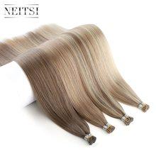 Neitsi двойной нарисованный Remy I Tip человеческие предварительно скрепленные кончики волос прямые кератиновые человеческие волосы для наращив...