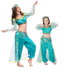New Adult Kids Women Girl Children Anime Aladdin Princess Jasmine Cosplay Costume Halloween Party Clothing Suit S-XXL