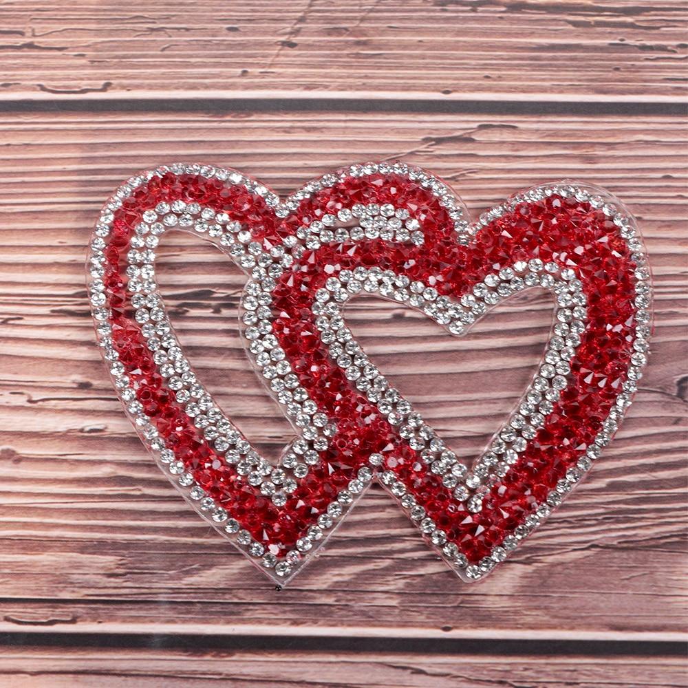1 шт., наклейки с двойным сердцем, изысканные стразы, теплопередача для одежды, сделай сам, вышивка, аппликация, обувь/шапки/сумки, декор одежды