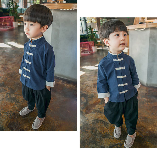 Childrens wear sets cotton Chinese style kung fu suitChildrens wear sets cotton Chinese style kung fu suit