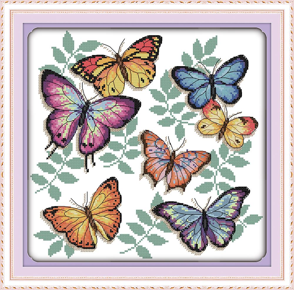 Everlasting love Christmas The colorful butterflies (2) Chinese cross stitch kits Ecological cotton stamped 11CT sales promotion