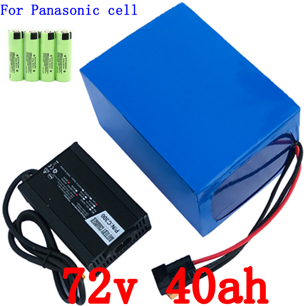 E-bike Battery Pack 72V 40Ah use for Panasonic  Cell Lithium Battery Pack for 72V 3000W 5000W 7000W Controller + 5A Charger replacement vbn260 7 4v 2500mah battery pack for panasonic hdc sd800gk tm900 hs900 sd900