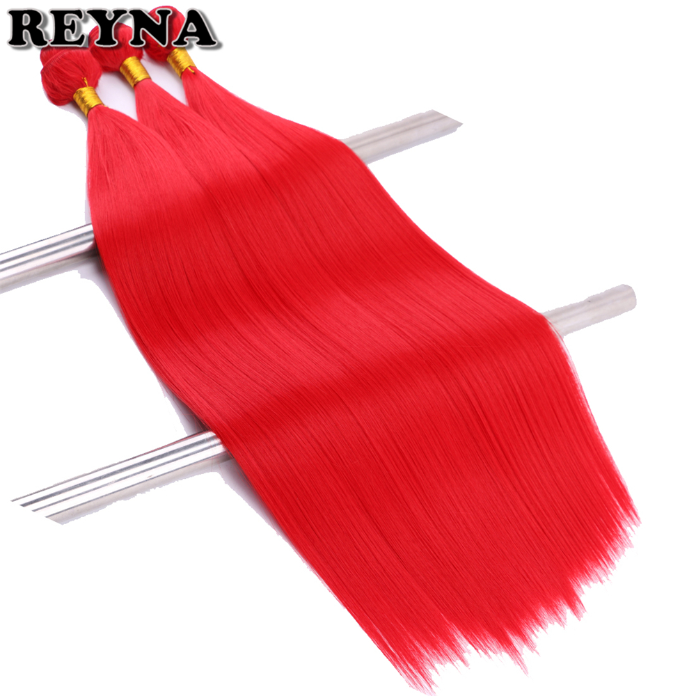 REYNA 22 inch 3pcs/pack RED Straight Synthetic Hair extension Pink purple fiber
