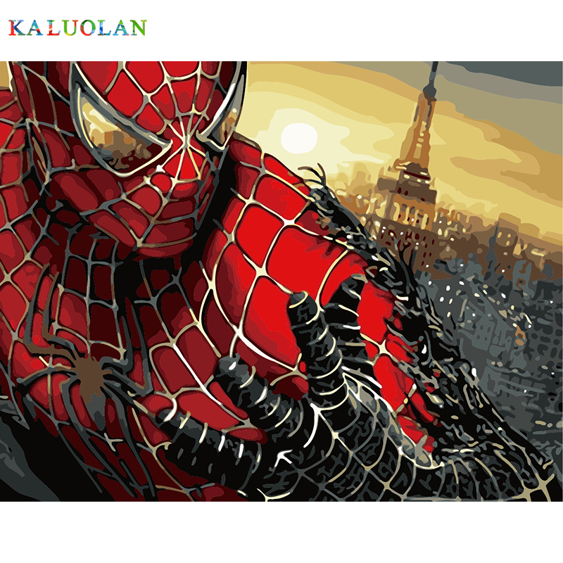 Frameless picture on wall acrylic paint by numbers diy painting by numbers unique gift oil painting 40X50cm The Spider-Man
