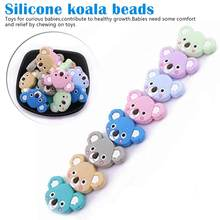 6pc Baby Koala Silicone Teether Teething Chew Toy Infant Teether Beads DIY Necklace Nursing Tool Pendant Food Grade Silicone