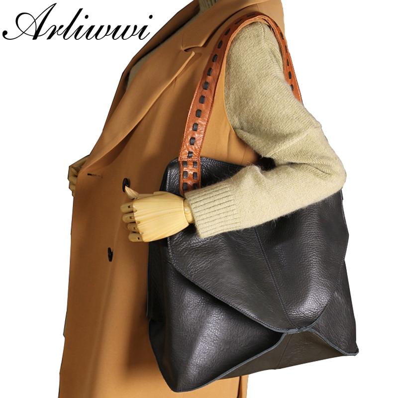 Arliwwi 2019 New Arrival Bags 100% Genuine Leather Handbags Large Capacity Hot Design Women Bags Multifunction Shoulder Bag