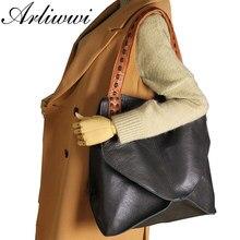 Arliwwi Neue Mode Taschen 100% Echtem Leder Handtaschen Große Kapazität Heißer Design Frauen Taschen Multifunktions Schulter Tasche GS02
