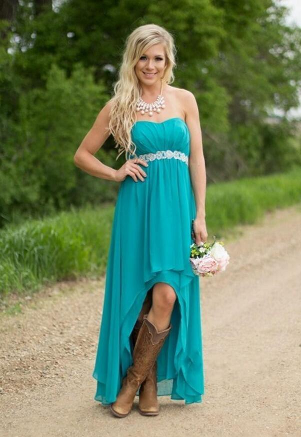 Teal Beach Country Bridesmaid Dresses 2017 Hi Lo Wedding Chiffon Plus Size High Low Empire Beaded Party Maid Honor Gowns In From