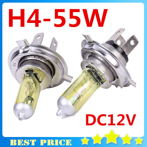 2pcs H4 Light Bulbs 3000K Halogen H4 12V 55W Golden Yellow Fog Factory Price Parking Car Styling Free Shipping