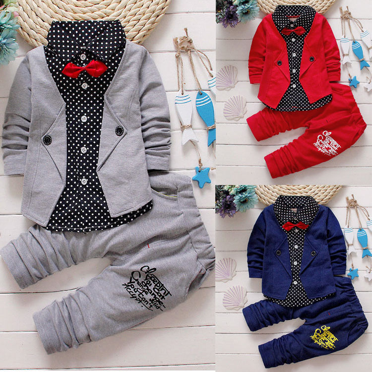 Tops Long Pants Formal Clothes Outfits Boy Autumn Gentleman Set 2pcs Toddler Baby Boys Kids Clothing Shirt 2017 baby boys clothing set gentleman boy clothes toddler summer casual children infant t shirt pants 2pcs boy suit kids clothes
