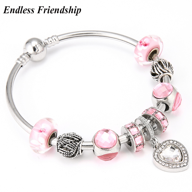 9dbf24599 ... sale fashion white crystal love style dangle pandora charms bracelet  bangle pink glass beads bracelets for ...