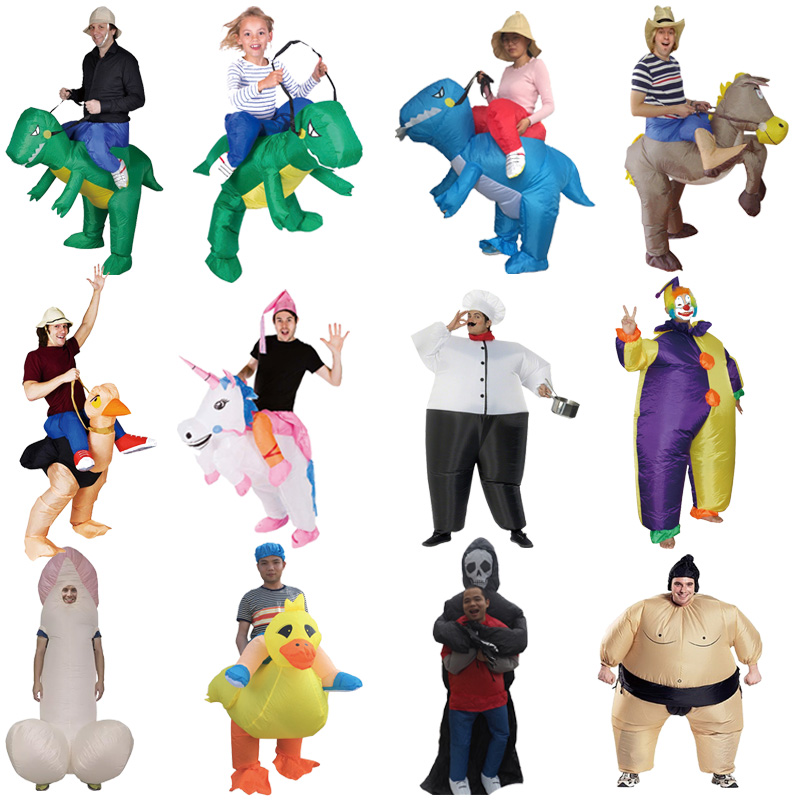2018 Inflatable Halloween Costume For Adult Kids Fan T-rex Gorilla Sumo Cow Horse Cowboy Unicorn Dinosaur Inflatable Costume