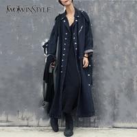 TWOTWINSTYLE Denim Trench Coat For Women Patchwork Single Breasted Pocket Split Long Windbreaker 2018 Spring Harajuku