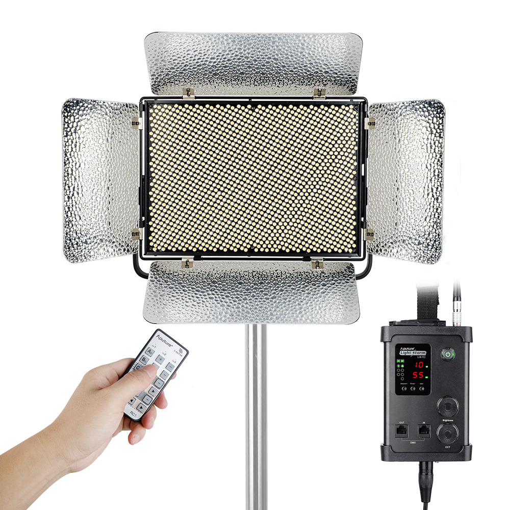 V-mount Plate Aputure Light Storm LS 1c 1536 SMD Led Video Light Panel Bi-Color 3200K-5500K CRI 95+ with 2.4G Remote Control aputure amaran tri 8s daylight balanced dimmable led video light panel ez box diffuser kit batteries 2 4g remote control v mount