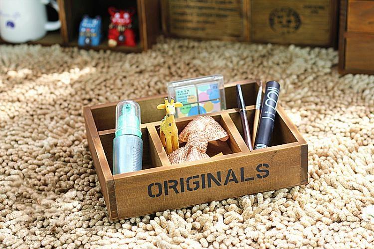 1PC Multifunctional Organizer Wooden Storage Box Holder Vintage Rustic Antique Jelelry JL 0902