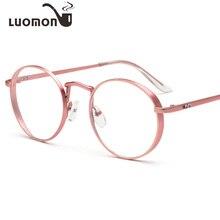 ba59cfd656206 LUOMON Rosa Rodada Do Vintage Armações de Óculos Mulheres Quadro Miopia  Optical Óculos Limpar Óculos de armação de óculos oculos.