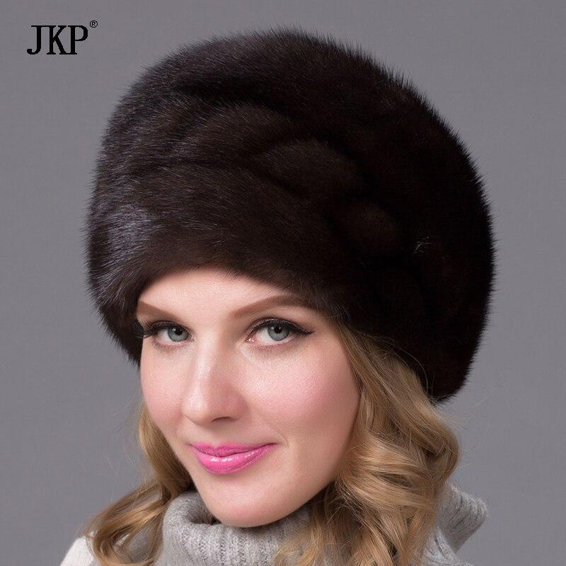 Réel naturel peau entière vison fourrure chapeau hiver femmes casquette élégant nouveau style de mode femme oreille chaude