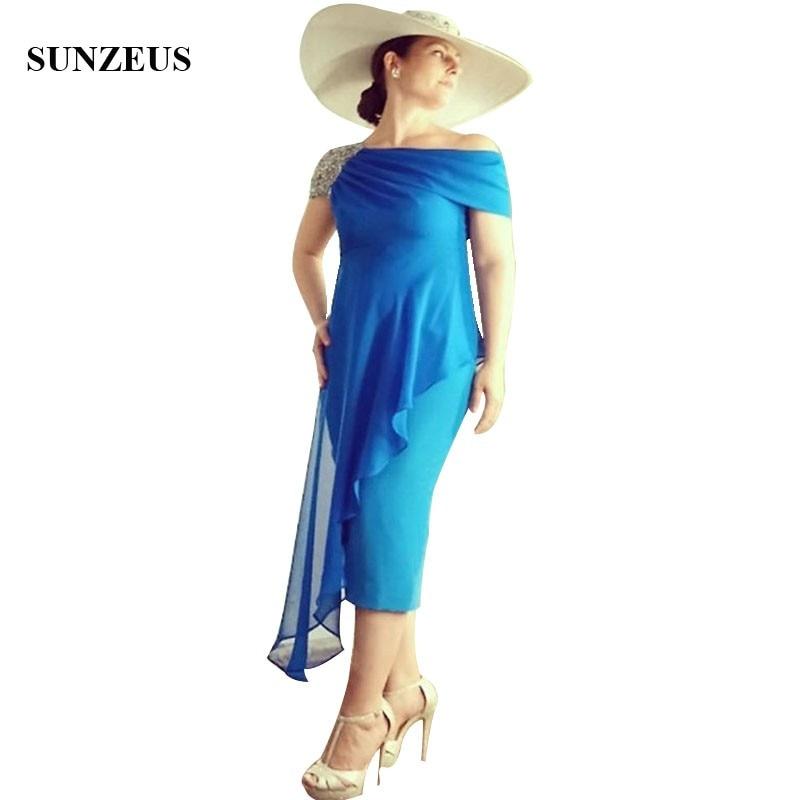 c43be9fc653 Vestidos Para Madrinha оболочка синий невесты платье для мамы бисером Кепки рукавом  Чай Длина Для женщин