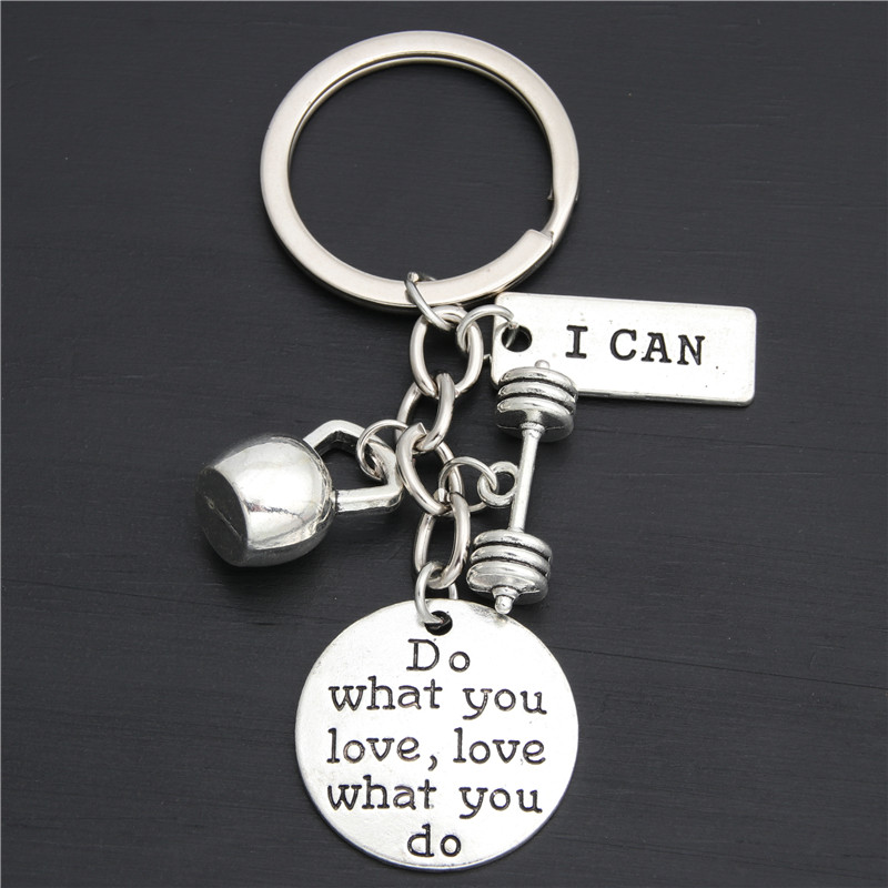 1pc I Can Keychain Weight Lifter Key Ring Barbell Weight Charms Fitness Jewelry Gift For Lifter Strong Man E2030