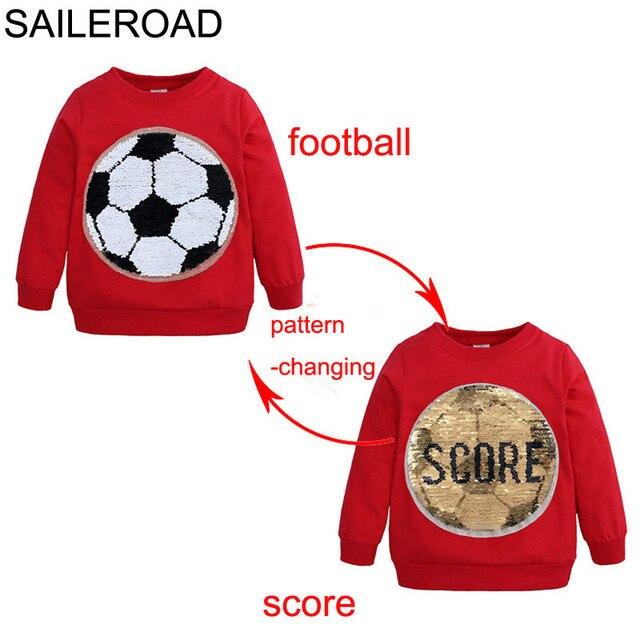 SAILEROAD Football Face-changing Score Paillette Boy Sweatshirts for Kids Long Sleeve Sweater Shirts Children Sweatshirt Clothes