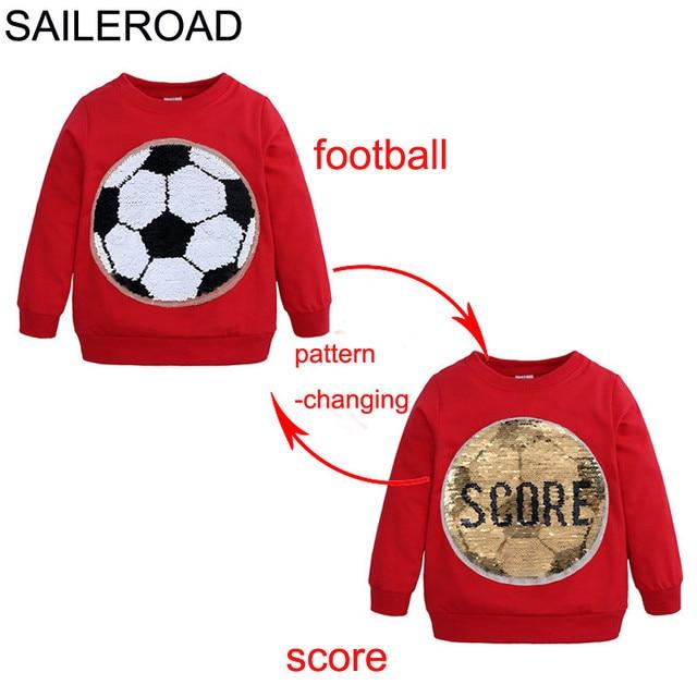 SAILEROAD כדורגל פנים-שינוי ציון Paillette ילד חולצות לילדים ארוך שרוול סוודר חולצות ילדי סווטשירט בגדים