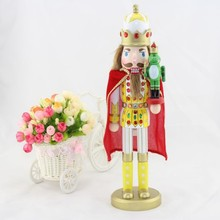 Free shipping Nutcrackers soldiers Wooden crafts 38CM the frog prince Nutcracker doll beautiful with Rhinestone Christmas Favors