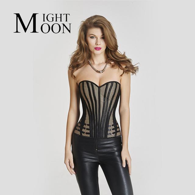 MOONIGHT Corsé de Las Mujeres de Moda Negro Marrón Tallas grandes Sexy Estilo de La Raya de Raso Vestido de Novia Fajas Cintura Que Adelgaza Los Corsés