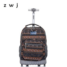 Bohemian Lightweight Wheeled Trolley Backpack Straps Cabin Bag Travel Luggage Backpack with Wheels Rolling Backpack