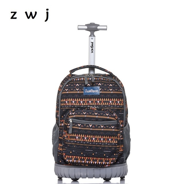 052c3f44c Bohemian Lightweight Wheeled Trolley Backpack Straps Cabin Bag Travel  Luggage Backpack with Wheels Rolling Backpack