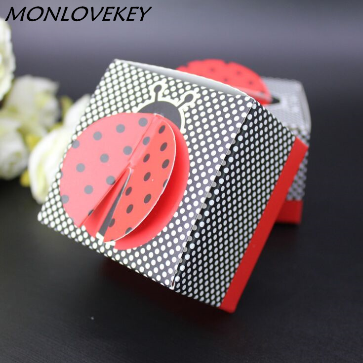 30pcs/Set Candy Boxes Ladybird Ladybug Style Baby Shower Kids Birthday Party Favors Wedding Gifts Box Souverir Free Shipping