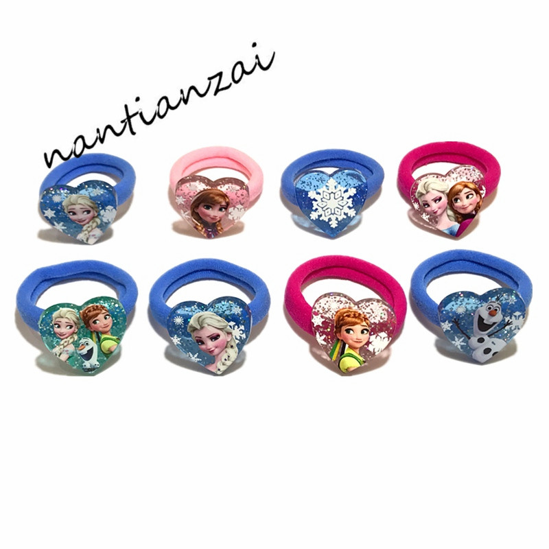 2pcs Princess Elsa Anna Hair Rope Hair Bands Hair Accessories Acrylic Elastic Hair Bands Girls Accesorios Para El Cabello Accessories Girls' Clothing