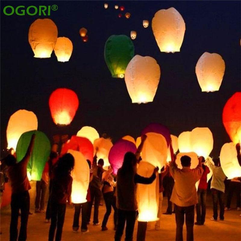10 PCS Chinese Lantern Sky Lanterns Wish Flying Lanterns Multicolor Paper Lanter
