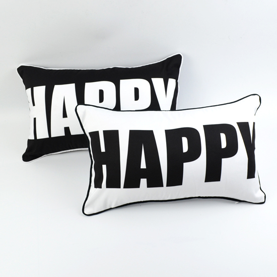 <font><b>30*50</b></font> cm Decorative Black White HAPPY printed Microfiber Rectangular Throw <font><b>Pillow</b></font> <font><b>Case</b></font> image