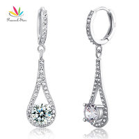 Drop Shipping Free 1 Carat Simulated Round Cut Diamond 925 Sterling Silver Dangle Earrings CFE8019