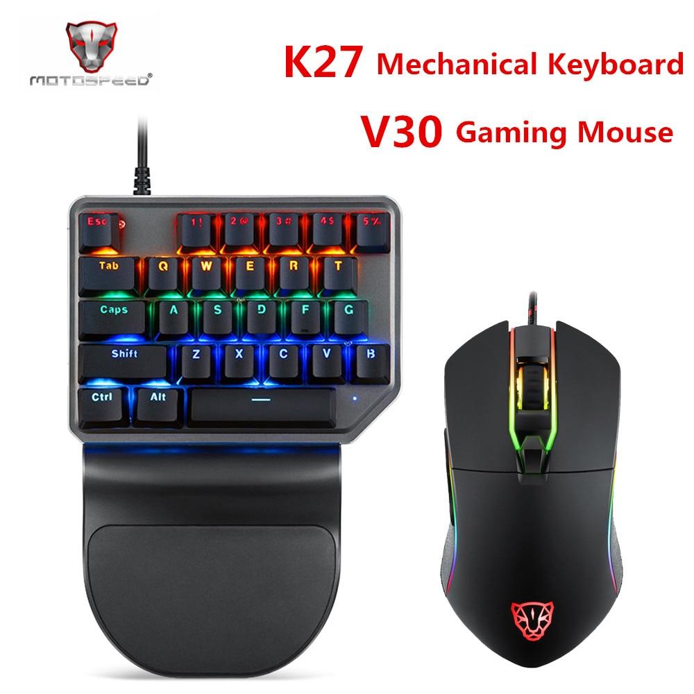 Motospeed k27 teclado mecânico motospeed v30 gaming mouse usb wired single handed azul interruptor luz de fundo para computador portátil