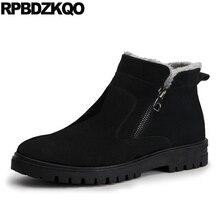 זכר שלג רוכסן 2017 בתוספת גודל קרסול חורף Mens מגפי חם שחור נעלי אופנה נוח קצר גבוהה למעלה הנעלה