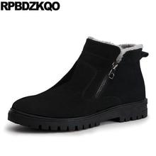 Мужские зимние ботинки на молнии, Зимние ботильоны 2017, теплые черные ботинки, Модная Удобная Короткая обувь с высоким берцем