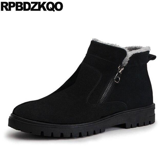 Botas de invierno hasta el tobillo de talla grande para hombre con cremallera de nieve 2017, zapatos negro cálido, calzado de caña alta cómodo a la moda