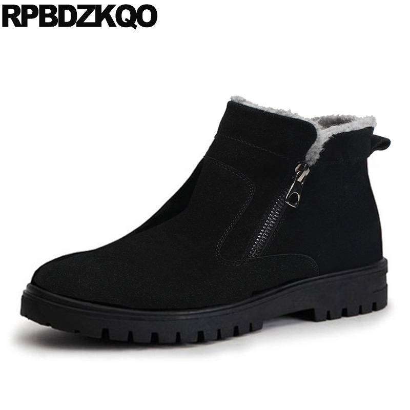 Male Snow Zipper 2017 Plus Size Ankle Winter Mens Boots Warm Black Shoes Fashion Comfortable Short High Top Footwear new fashion men basic black winter warm shoes high top nuduck genuine leather luxury brand ankle snow boots flats size 38 44